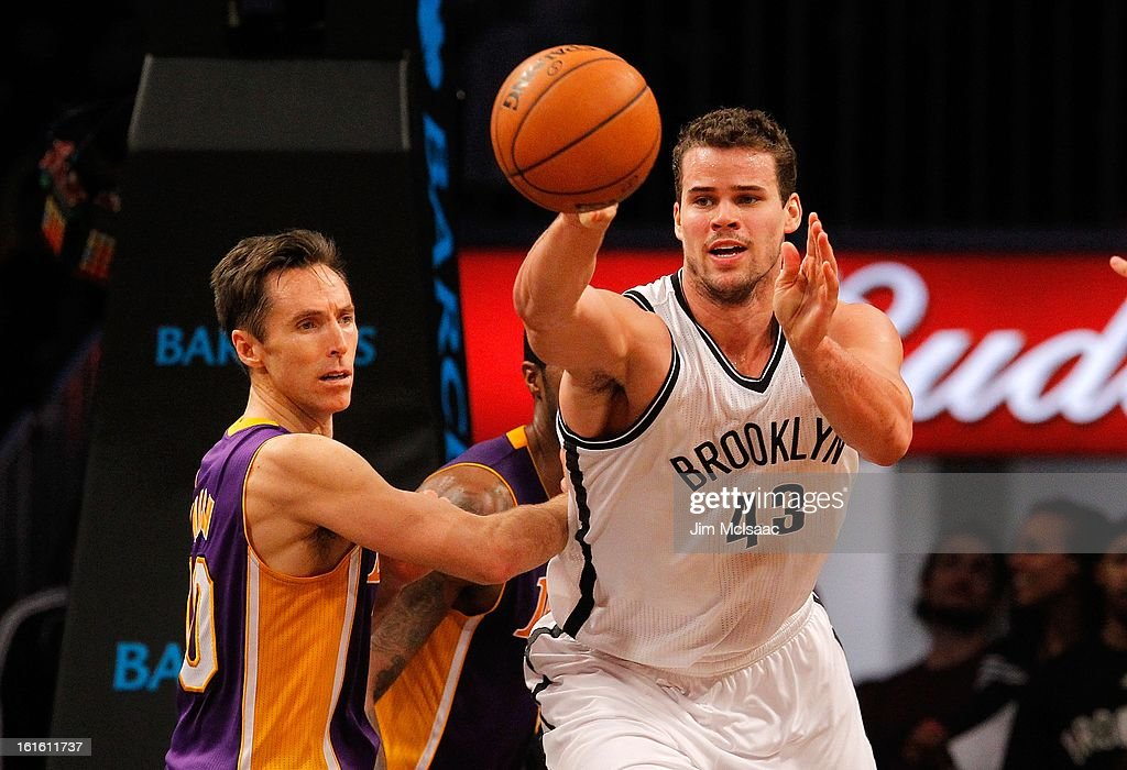 Kris Humphries #43 of the Brooklyn Nets in action against Steve Nash #10 of the Los Angeles Lakers at Barclays Center on February 5, 2013 in the Brooklyn borough of New York City.The Lakers defeated the Nets 92-83.