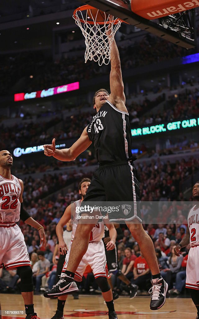 Kris Humphries #34 of the Brooklyn Nets lays in a shot against the Chicago Bulls in Game Six of the Eastern Conference Quarterfinals during the 2013 NBA Playoffs at the United Center on May 2, 2013 in Chicago, Illinois.