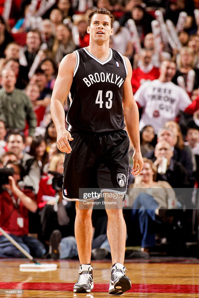 <a gi-track='captionPersonalityLinkClicked' href=/galleries/search?phrase=Kris+Humphries&family=editorial&specificpeople=209199 ng-click='$event.stopPropagation()'>Kris Humphries</a> #43 of the Brooklyn Nets looks on during a game against the Portland Trail Blazers on March 27, 2013 at the Rose Garden Arena in Portland, Oregon.