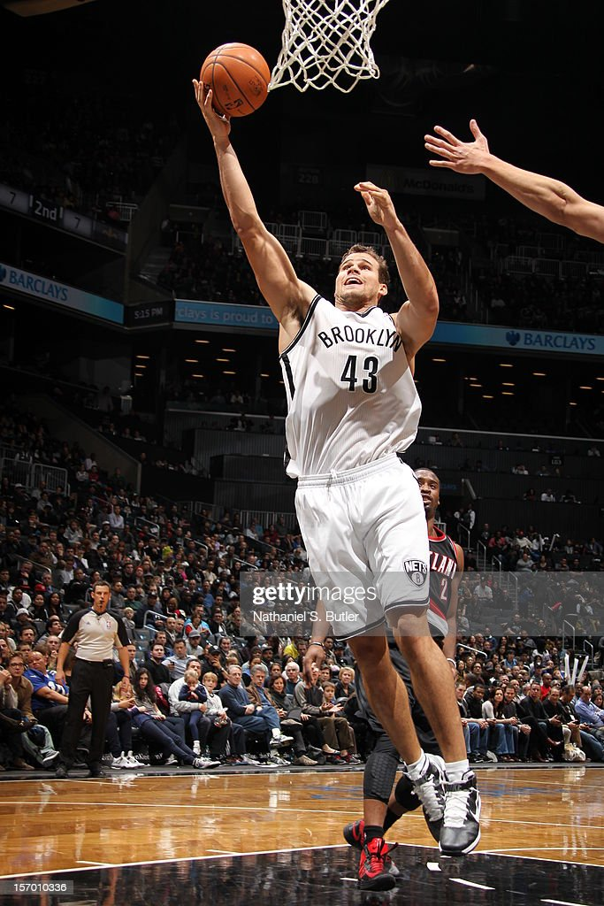 <a gi-track='captionPersonalityLinkClicked' href=/galleries/search?phrase=Kris+Humphries&family=editorial&specificpeople=209199 ng-click='$event.stopPropagation()'>Kris Humphries</a> #43 of the Brooklyn Nets puts up a shot against the Portland Trail Blazers on November 25, 2012 at the Barclays Center in the Brooklyn Borough of New York City.