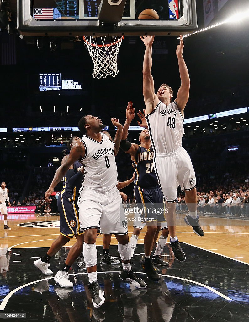 Kris Humphries #43 of the Brooklyn Nets scores two in the second half against the Indiana Pacers at the Barclays Center on January 13, 2013 in New York City.