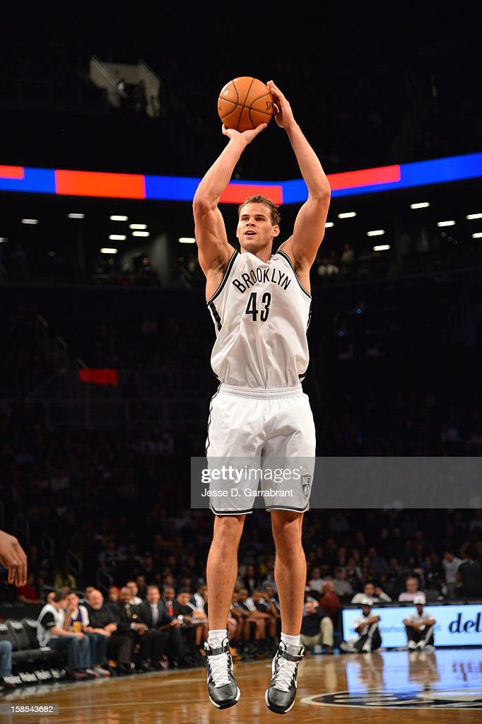 Kris Humphries #43 of the Brooklyn Nets shoots against the Utah Jazz during the game at the Barclays Center on December 18, 2012 in Brooklyn, New York.