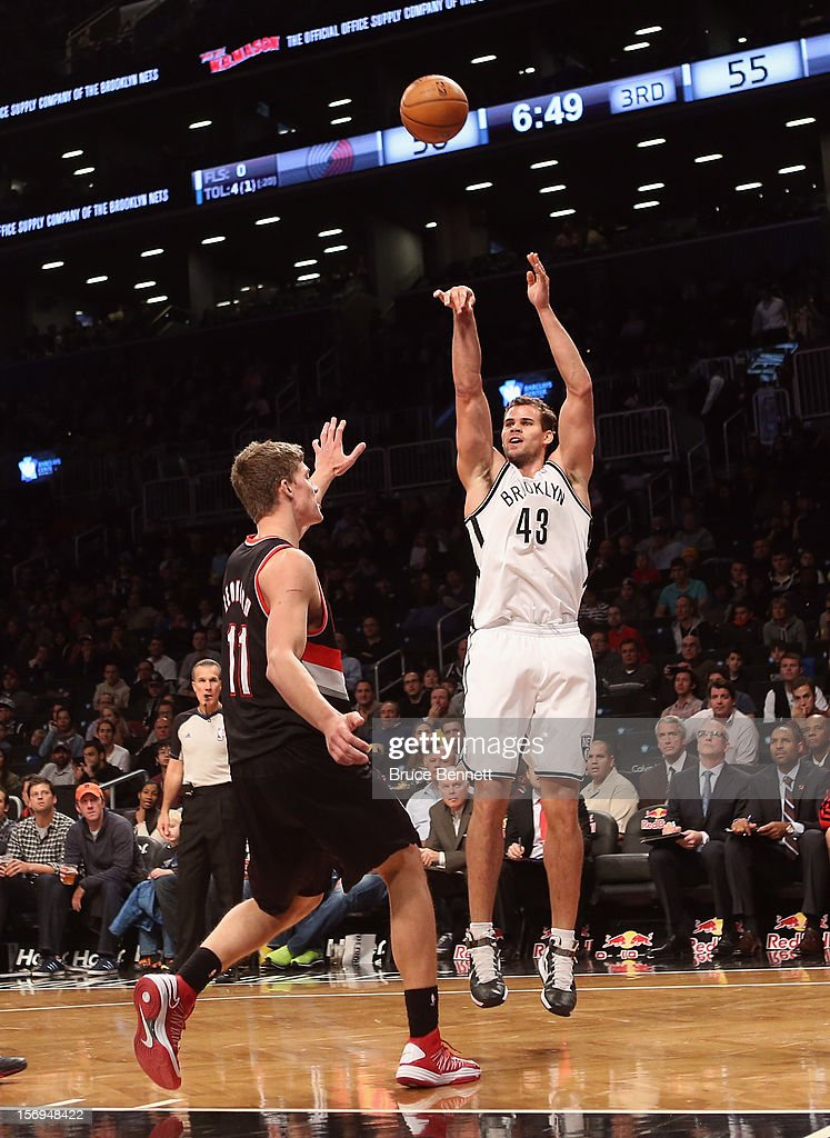 Kris Humphries #43 of the Brooklyn Nets takes the shot against the Portland Trail Blazers at the Barclays Center on November 25, 2012 in the Brooklyn borough of New York City.