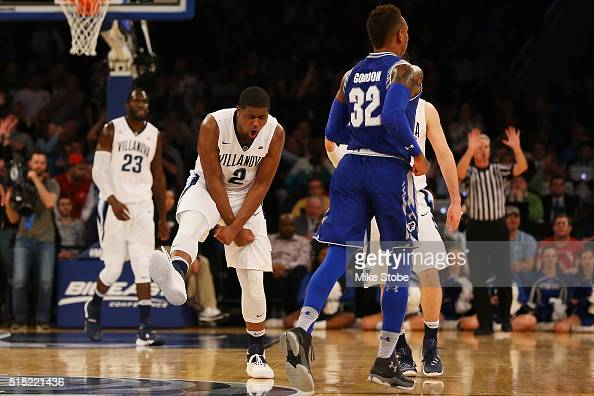 Kris Jenkins of the Villanova Wildcats reacts after hitting a basket against the Seton Hall Pirates during the Big East Basketball Tournament...