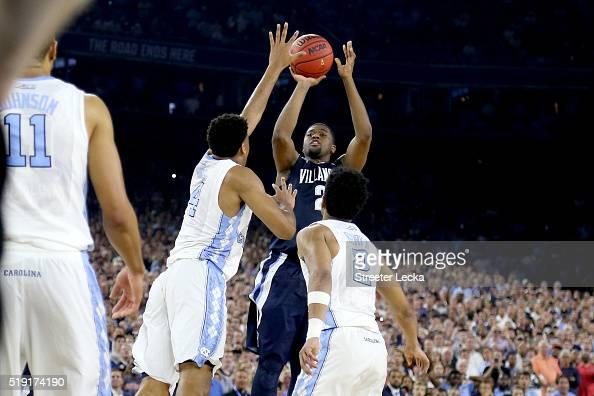 Kris Jenkins of the Villanova Wildcats shoots the gamewinning three pointer to defeat the North Carolina Tar Heels 7774 in the 2016 NCAA Men's Final...