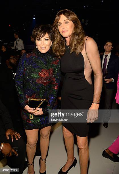 Kris Jenner and Caitlyn Jenner attend the 2015 Victoria's Secret Fashion Show at Lexington Armory on November 10 2015 in New York City