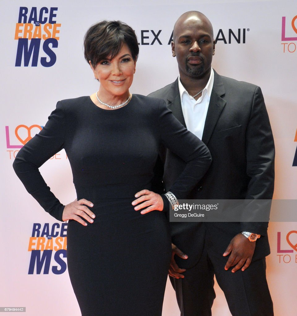 Kris Jenner and Corey Gamble arrive at the 24th Annual Race To Erase MS Gala at The Beverly Hilton Hotel on May 5, 2017 in Beverly Hills, California.