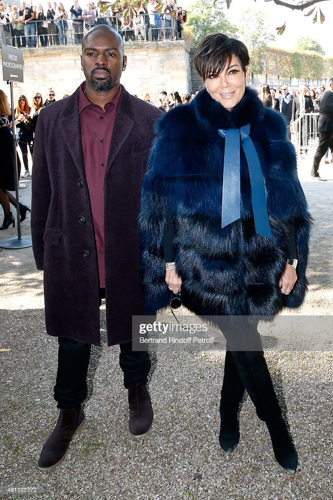 Kris Jenner and her companion Corey Gamble attend the Elie Saab show as part of the Paris Fashion Week Womenswear Spring/Summer 2016 on October 3...