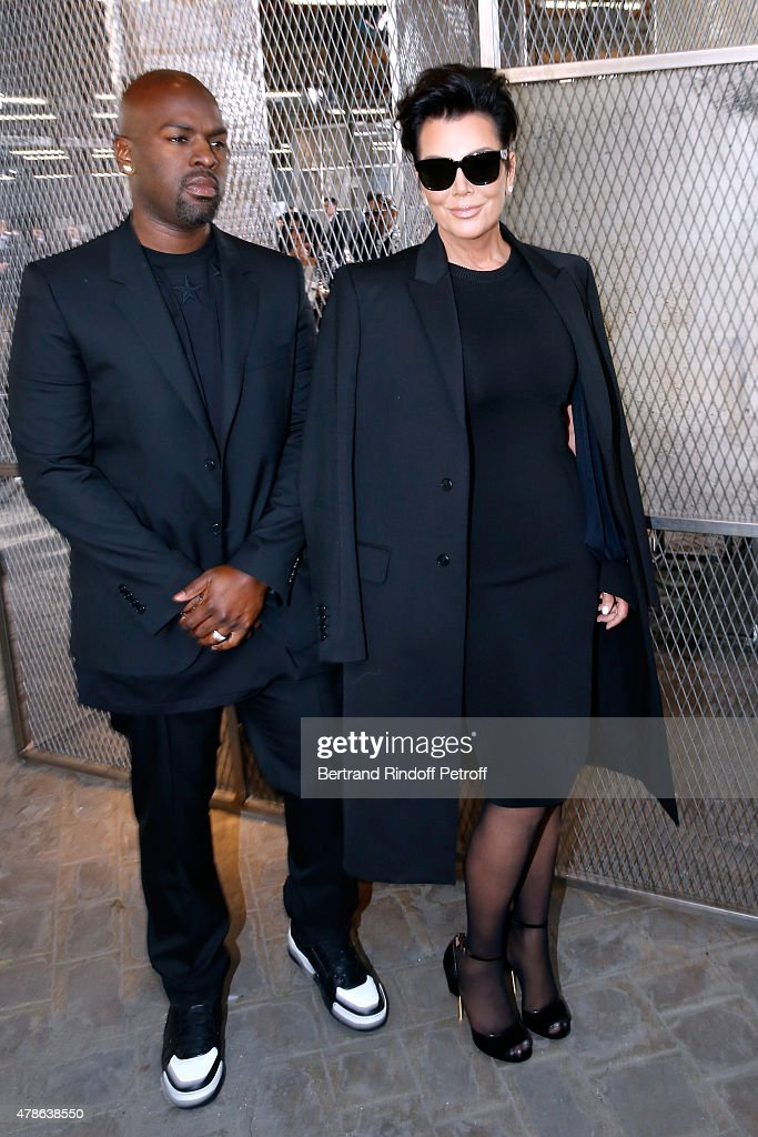 Kris Jenner (R) and her companion Corey Gamble attend the Givenchy Menswear Spring/Summer 2016 show as part of Paris Fashion Week on June 26, 2015 in Paris, France.