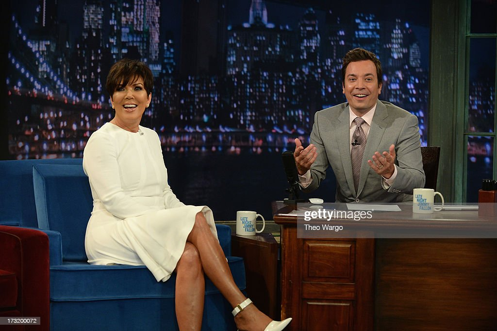 <a gi-track='captionPersonalityLinkClicked' href=/galleries/search?phrase=Kris+Jenner&family=editorial&specificpeople=762610 ng-click='$event.stopPropagation()'>Kris Jenner</a> and Jimmy Fallon during a taping of 'Late Night With Jimmy Fallon' at Rockefeller Center on July 9, 2013 in New York City.