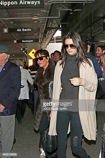 Kris Jenner and Kendall Jenner are seen at LAX on March 11 2015 in Los Angeles California
