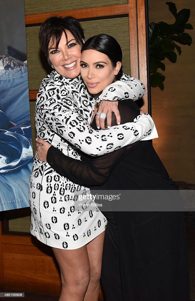 Kris Jenner and Kim Kardashian West attend Westime Celebrates Kris Jenner's Haute Living Cover at Nobu Malibu on August 24 2015 in Malibu California