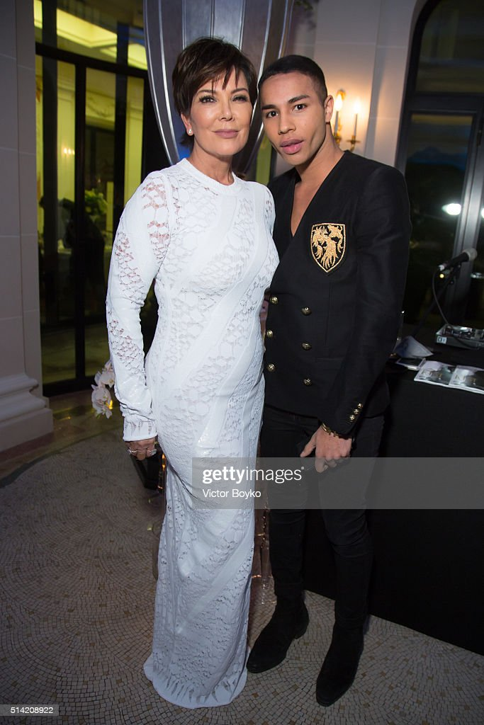 Kris Jenner and Olivier Rousteing attend the Editorialist Spring/Summer 2016 Issue Launch Party at the Hotel Peninsula as part of the Paris Fashion Week Womenswear Fall/Winter 2016/2017 on March 7, 2016 in Paris, France.