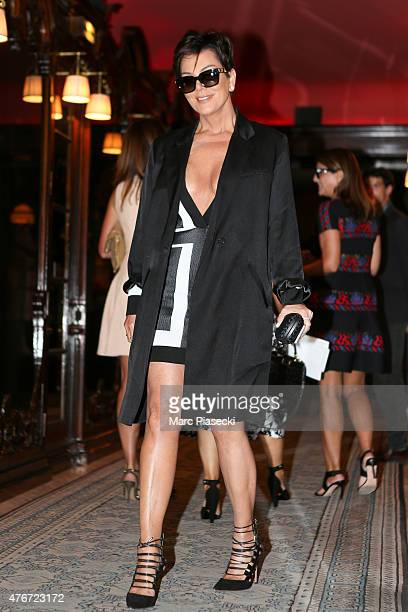 Kris Jenner arrives at the 'Costes' restaurant on June 11 2015 in Paris France