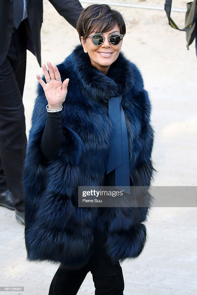 Kris Jenner arrives at the Elie Saab show as part of the Paris Fashion Week Womenswear Spring/Summer 2016 on October 3 2015 in Paris France