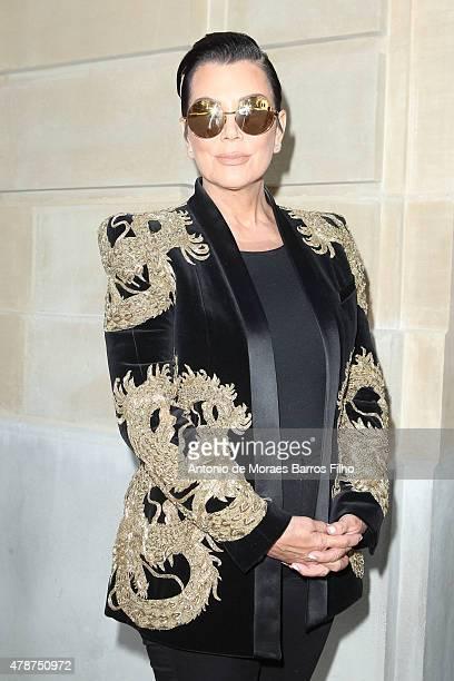 Kris Jenner attends the Balmain Menswear Spring/Summer 2016 show as part of Paris Fashion Week on June 27 2015 in Paris France
