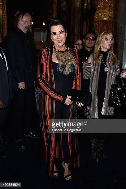 Kris Jenner attends the Balmain show as part of the Paris Fashion Week Womenswear Spring/Summer 2016 on October 1 2015 in Paris France