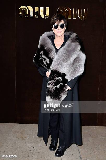 Kris Jenner attends the Miu Miu show as part of the Paris Fashion Week Womenswear Fall / Winter 2016 on March 9 2016 in Paris France