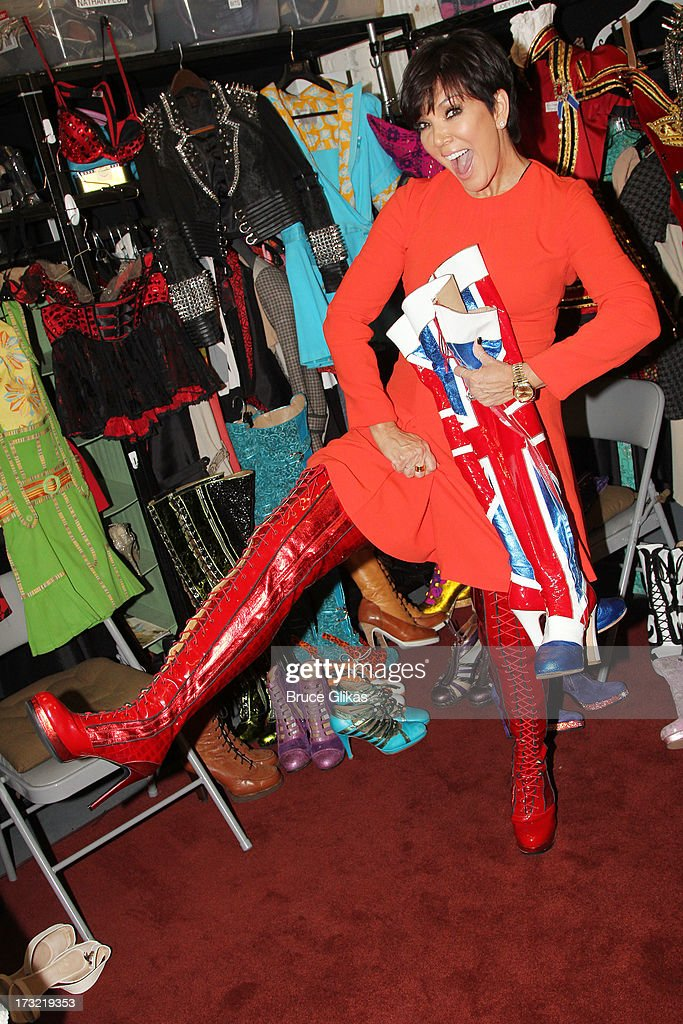 <a gi-track='captionPersonalityLinkClicked' href=/galleries/search?phrase=Kris+Jenner&family=editorial&specificpeople=762610 ng-click='$event.stopPropagation()'>Kris Jenner</a> filming on location at 'Kinky Boots' on Broadway for the new talk show 'Kris' (which will premiere on FOX Television on July 15th) at The Al Hirshfeld Theater on July 9, 2013 in New York City.