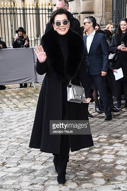 Kris Jenner is seen arriving at Dior fashion show during Paris Fashion Week Womenswear Fall Winter 2016/2017 on March 4 2016 in Paris France