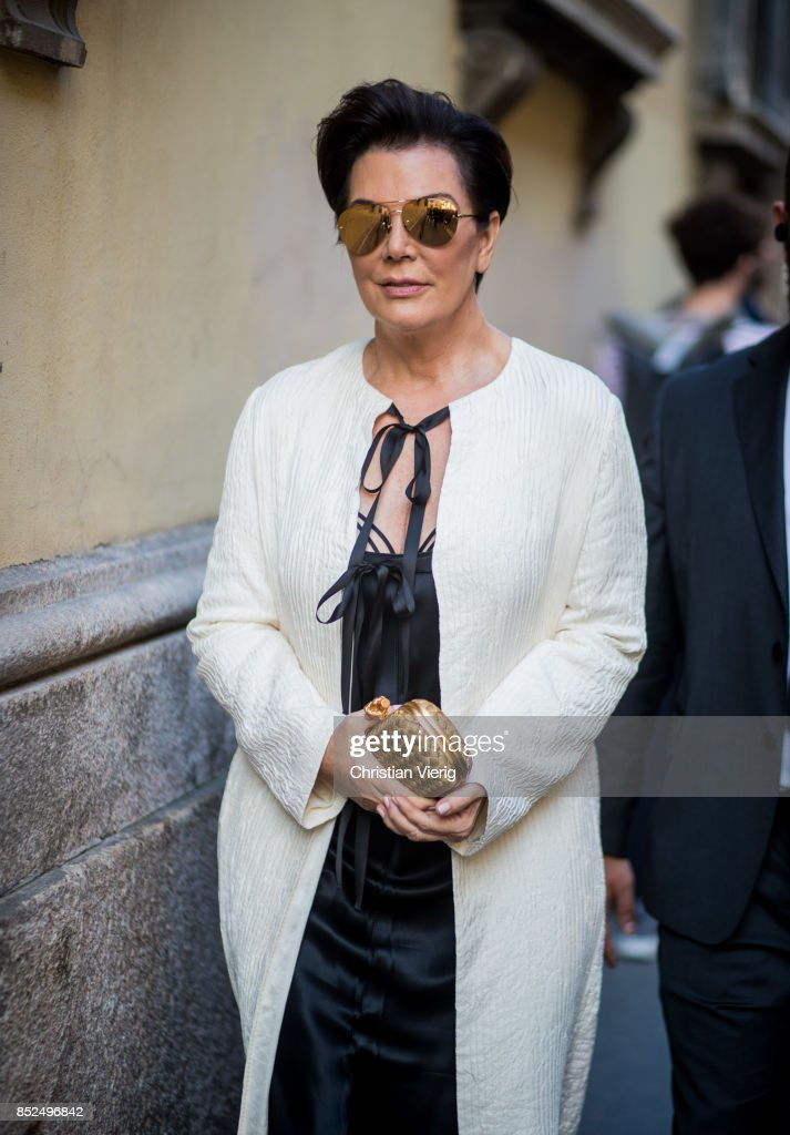 Kris Jenner is seen outside Bottega Veneta during Milan Fashion Week Spring/Summer 2018 on September 23, 2017 in Milan, Italy.