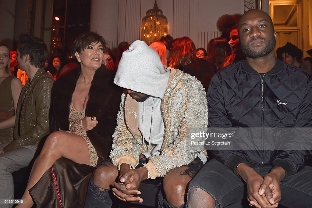 Kris Jenner Kanye West and Corey Gamble attend the Balmain show as part of the Paris Fashion Week Womenswear Fall/Winter 2016/2017 on March 3 2016 in...