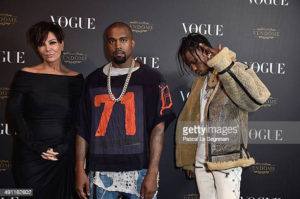 Kris Jenner Kayne West and Travis Scott attend the Vogue 95th Anniversary Party on October 3 2015 in Paris France