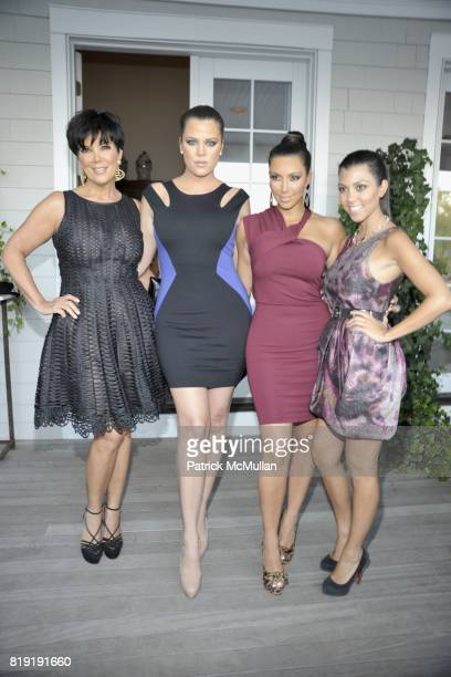 Kris Jenner Khloe Kardashian Kim Kardashian and Kourtney Kardashian attend QVC Style Initiative Dinner hosted by CEO Mike George at the home of...