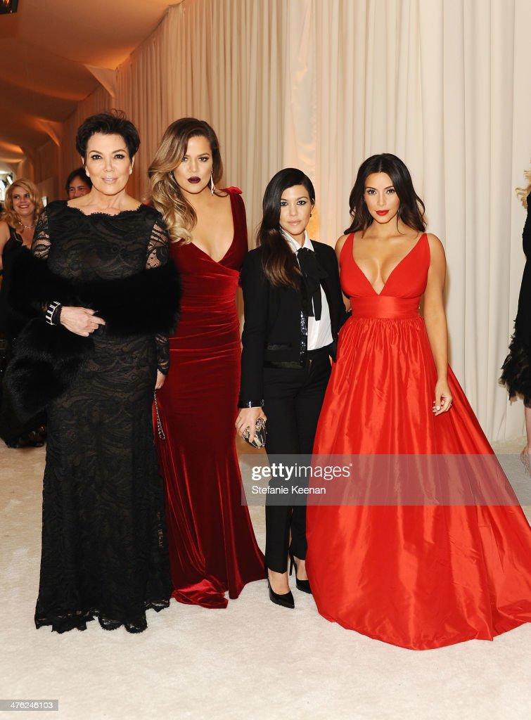 Kris Jenner Khloe Kardashian Kourtney Kardashian and Kim Kardashian attend the 22nd Annual Elton John AIDS Foundation Academy Awards viewing party...