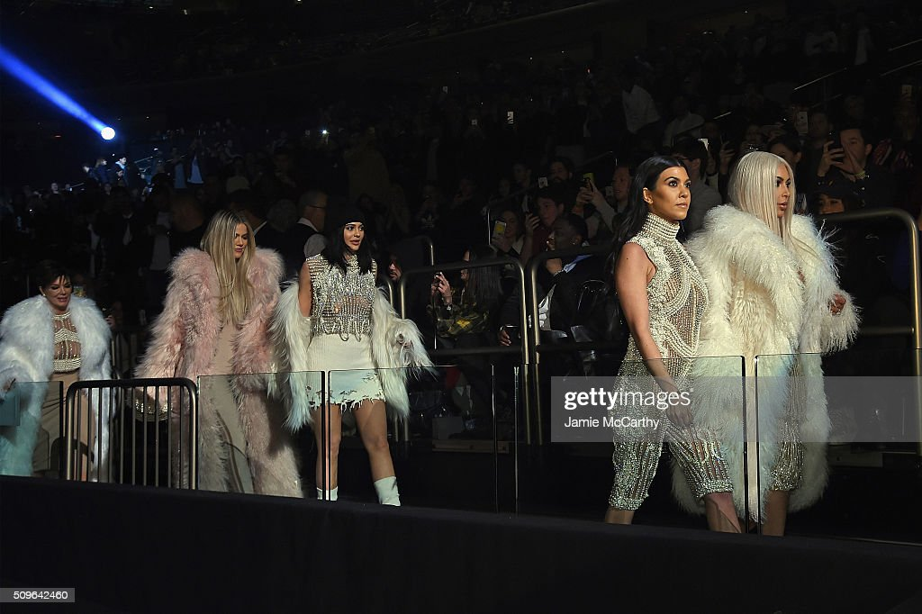 Kris Jenner, Khloe Kardashian, Kylie Jenner, Kourtney Kardashian and Kim Kardashian attend Kanye West Yeezy Season 3 on February 11, 2016 in New York City.