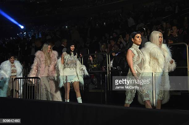 Kris Jenner Khloe Kardashian Kylie Jenner Kourtney Kardashian and Kim Kardashian attend Kanye West Yeezy Season 3 on February 11 2016 in New York City