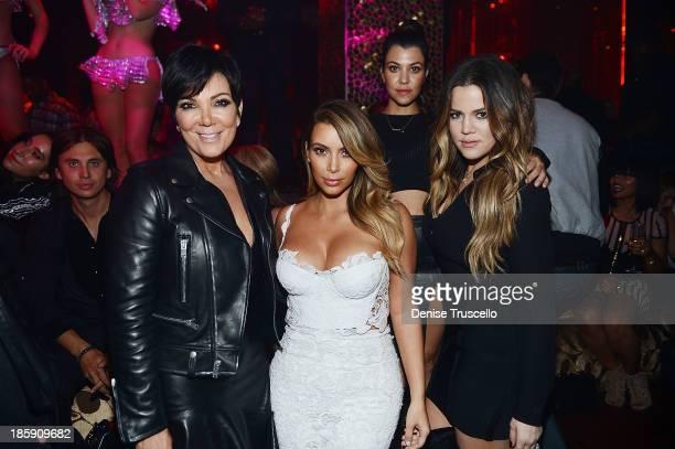Kris Jenner Kim Kardashian Kourtney Kardashian and Khloe Kardashian celebrate Kim Kardashian's 33rd birthday at Tao Las Vegas on October 25 2013 in...