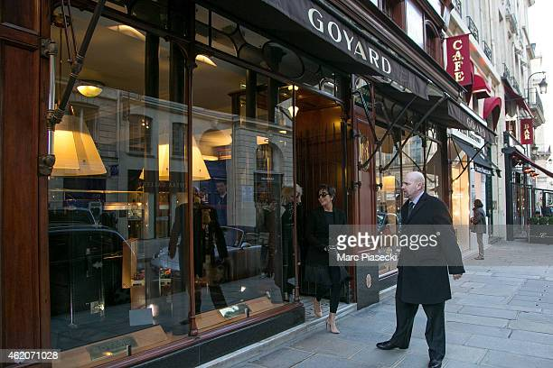 Kris Jenner leaves the 'Goyard' store in the 'Rue Saint Honore' on January 24 2015 in Paris France