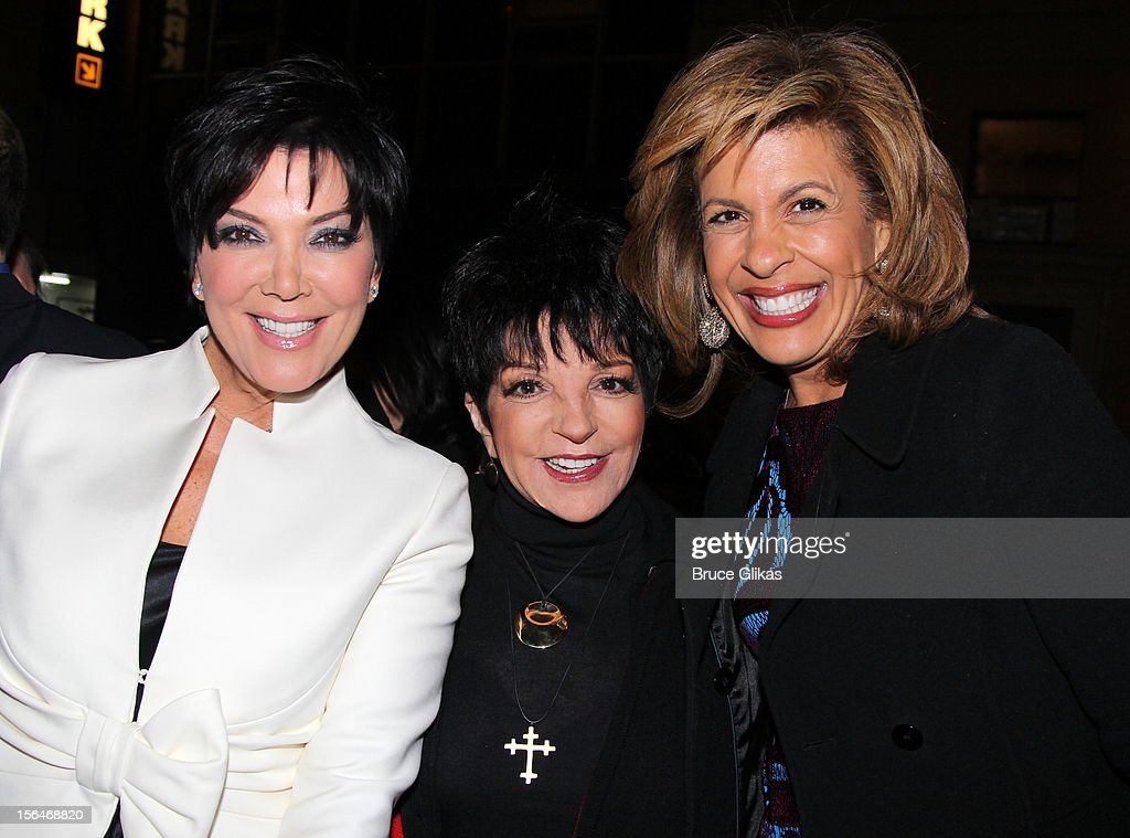<a gi-track='captionPersonalityLinkClicked' href=/galleries/search?phrase=Kris+Jenner&family=editorial&specificpeople=762610 ng-click='$event.stopPropagation()'>Kris Jenner</a>, <a gi-track='captionPersonalityLinkClicked' href=/galleries/search?phrase=Liza+Minnelli&family=editorial&specificpeople=121547 ng-click='$event.stopPropagation()'>Liza Minnelli</a> and <a gi-track='captionPersonalityLinkClicked' href=/galleries/search?phrase=Hoda+Kotb&family=editorial&specificpeople=2338013 ng-click='$event.stopPropagation()'>Hoda Kotb</a> attend the opening night of 'Scandalous' on Broadway at the Neil Simon Theatre on November 15, 2012 in New York City.