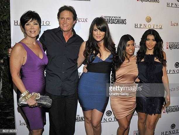 Kris Jenner Olympic gold medalist Bruce Jenner television personalities Kourtney Kardashian Khloe Kardashian and Kim Kardashian attend the season two...
