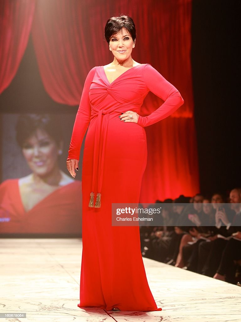 Kris Jenner walks runway at The Heart Truth's Red Dress Collection Fall 2013 Mercedes-Benz Fashion Show at 499 Seventh Avenue on February 6, 2013 in New York City.