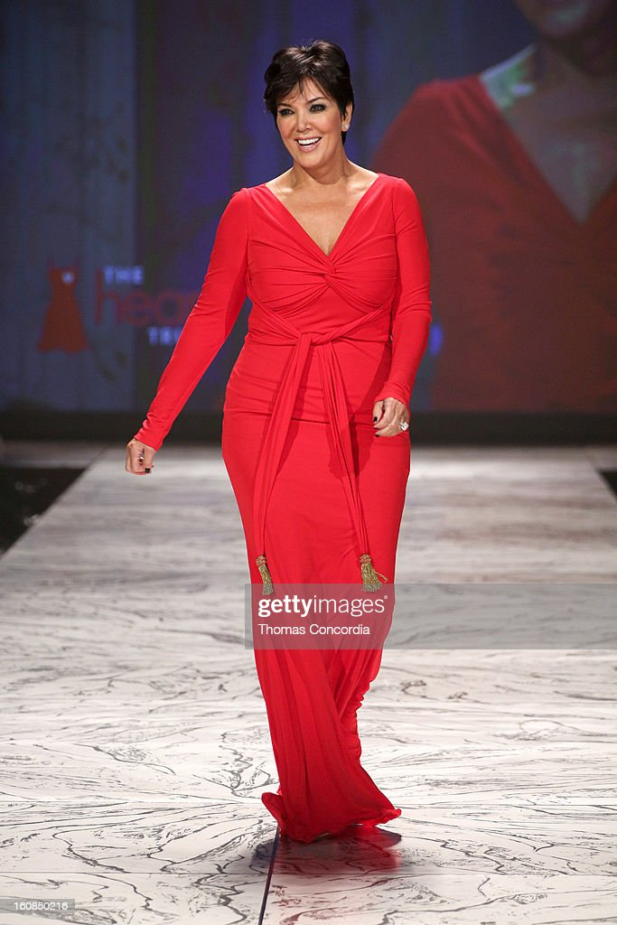 Kris Jenner wearing Badgley Mischka walks the runway at The Heart Truth's Red Dress Collection during Fall 2013 Mercedes-Benz Fashion Week at Hammerstein Ballroom on February 6, 2013 in New York City.