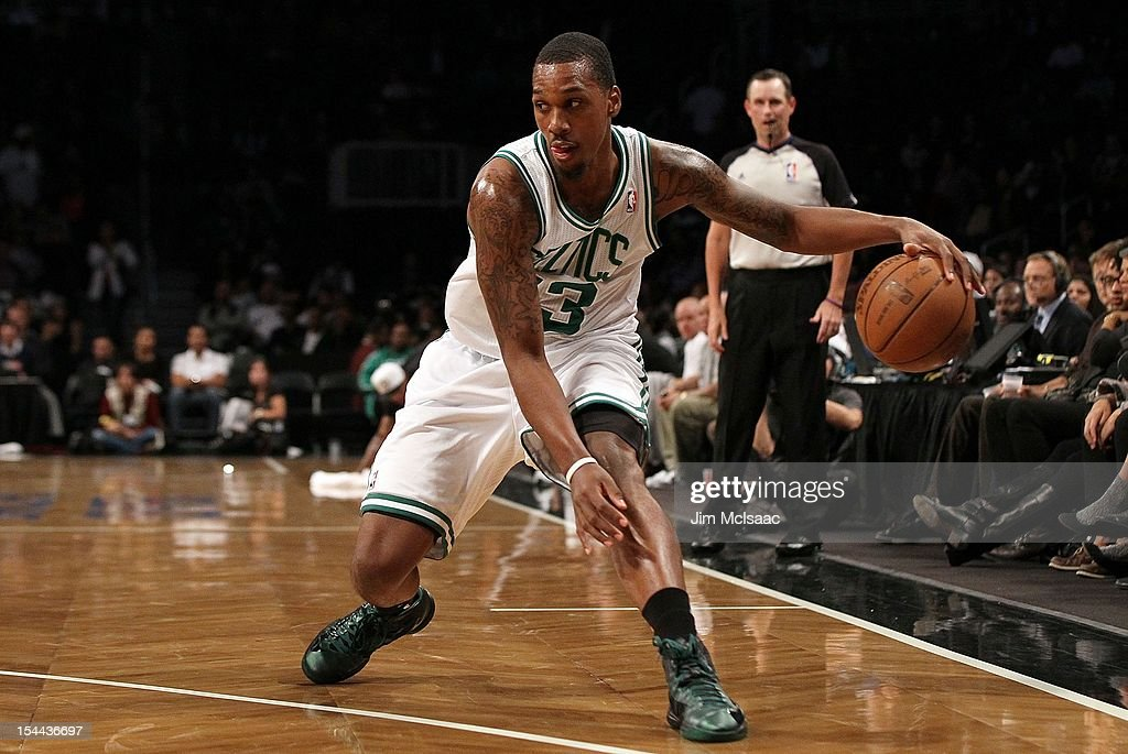 Kris Joseph of the Boston Celtics in action against the Brooklyn Nets during a preseason game at the Barclays Center on October 18 2012 in the...