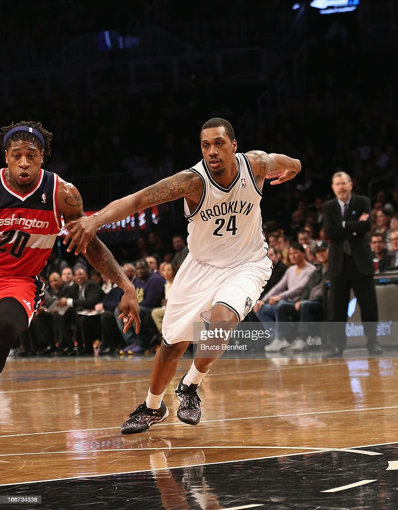 Kris Joseph of the Brooklyn Nets dribbles the ball against the Washington Wizards at the Barclays Center on April 15 2013 in New York City The Nets...