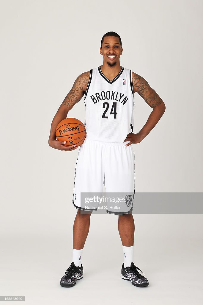Kris Joseph of the Brooklyn Nets poses for a picture after being called up from the DLeague before a game against the Chicago Bulls on April 4 2013...