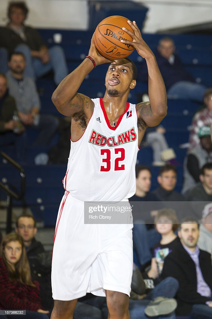 Kris Joseph of the Maine Red Claws lines up a jump shot against the Sioux Falls Skyforce on December 2 2012 at the Portland Expo in Portland Maine...