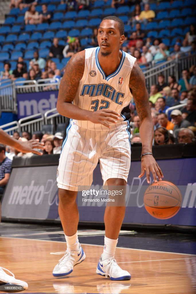 Kris Joseph of the Orlando Magic controls the ball against the Memphis Grizzlies during the game on October 18 2013 at Amway Center in Orlando...