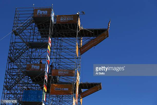 Kris Kolanus of Poland competes during the Men's 27m High Diving on day ten of the 15th FINA World Championships at Moll de la Fusta on July 29 2013...