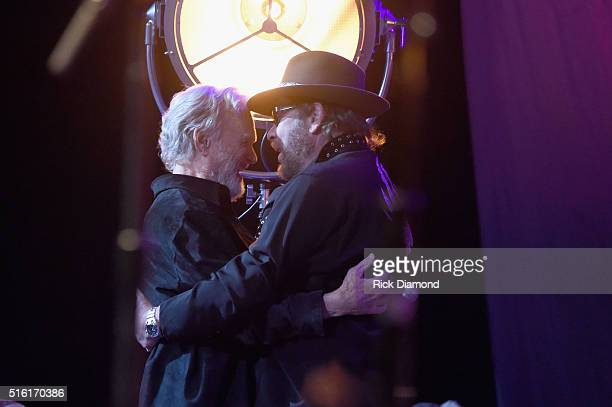 Kris Kristofferson and Hank Williams Jr at The Life Songs of Kris Kristofferson produced by Blackbird Presents at Bridgestone Arena on March 16 2016...