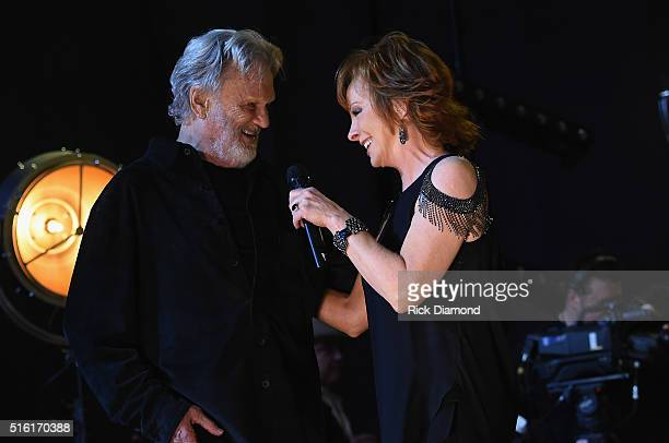 Kris Kristofferson and Reba perform at The Life Songs of Kris Kristofferson produced by Blackbird Presents at Bridgestone Arena on March 16 2016 in...