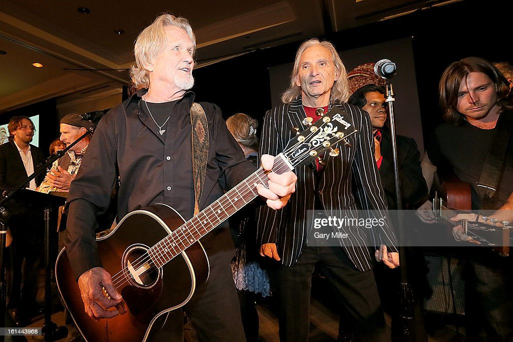 Kris Kristofferson, Jimmie Dale Gilmore and Lukas Nelson perform during the Nobelity Projects Artists & Filmmakers Dinner honoring Kris Kristofferson with the Feed The Peace award at the Four Seasons Hotel on February 10, 2013 in Austin, Texas.