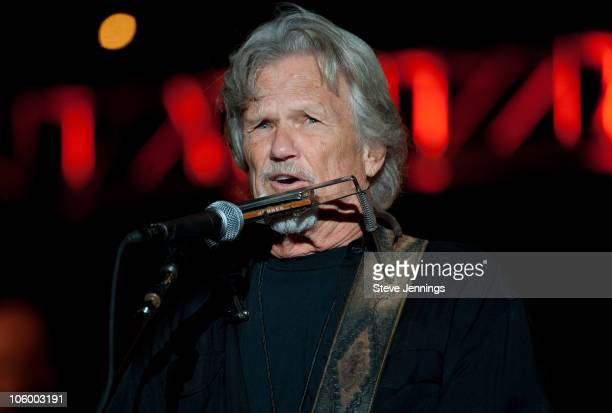 Kris Kristofferson performs at the 24th Annual Bridge School Benefit concert at Shoreline Amphitheatre on October 23 2010 in Mountain View California
