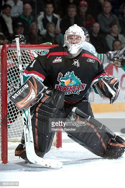 Kris Lazaruk of the Kelowna Rockets defends the net against the Seattle Thunderbirds at the Kelowna Rockets on October 29 2008 at Prospera Place in...