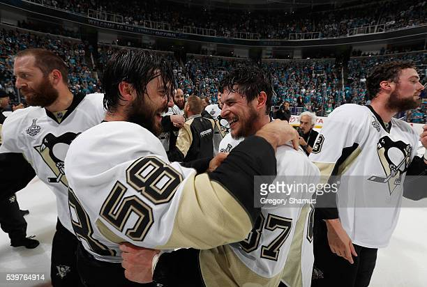 Kris Letang and Sidney Crosby of the Pittsburgh Penguins celebrate winning the Stanley Cup after Game 6 of the 2016 NHL Stanley Cup Final over the...