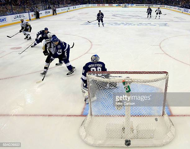 Kris Letang of the Pittsburgh Penguins scores a goal against Andrei Vasilevskiy of the Tampa Bay Lightning during the second period in Game Six of...